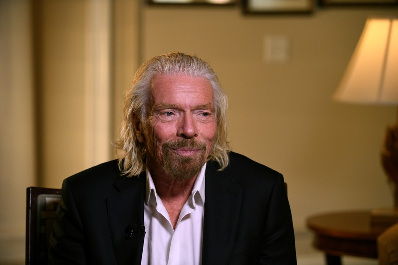 Virgin Galactic founder Richard Branson speaks during the Space Symposium in Colorado Springs