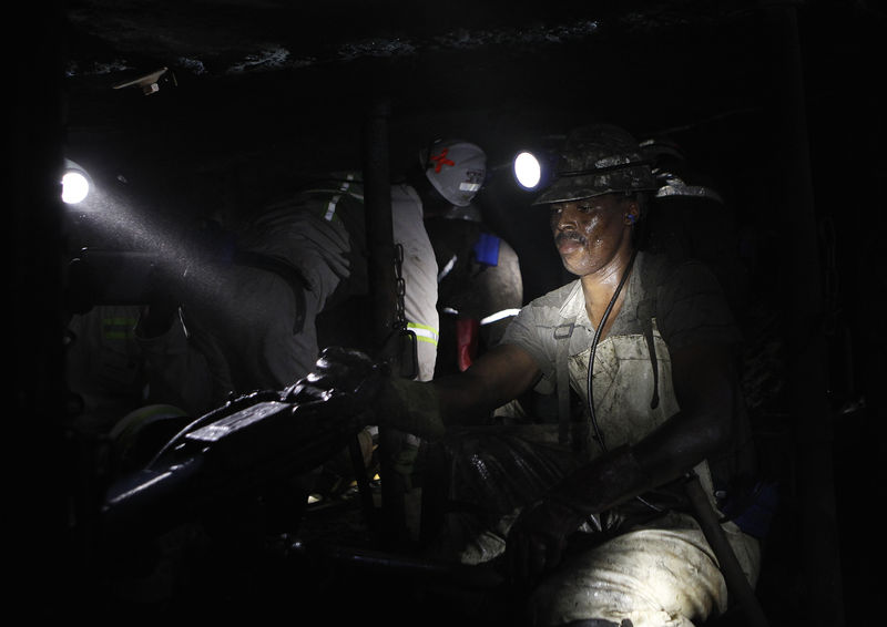 A miner is seen underground at Lonmin Plc's Karee mine in Marikana, Rustenburg