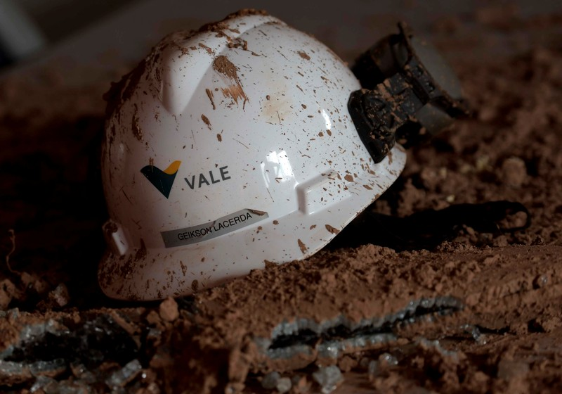 FILE PHOTO -  A helmet with a logo of Vale SA is seen in a collapsed tailings dam owned by the company, in Brumadinho