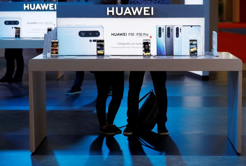 FILE PHOTO: The Huawei logo is pictured on the company's stand during the 'Electronics Show - International Trade Fair for Consumer Electronics' at Ptak Warsaw Expo in Nadarzyn