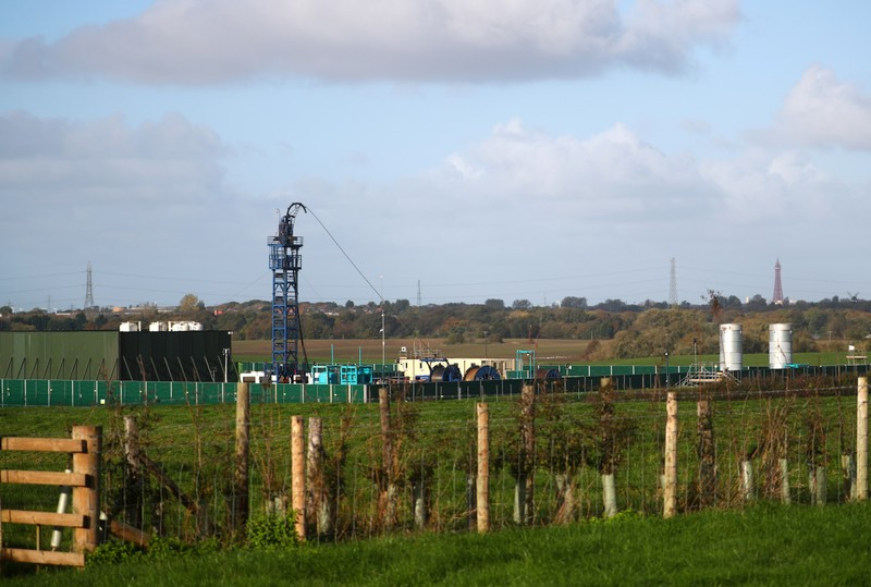 FILE PHOTO: Cuadrilla's Preston Road fracking site is seen near Blackpool