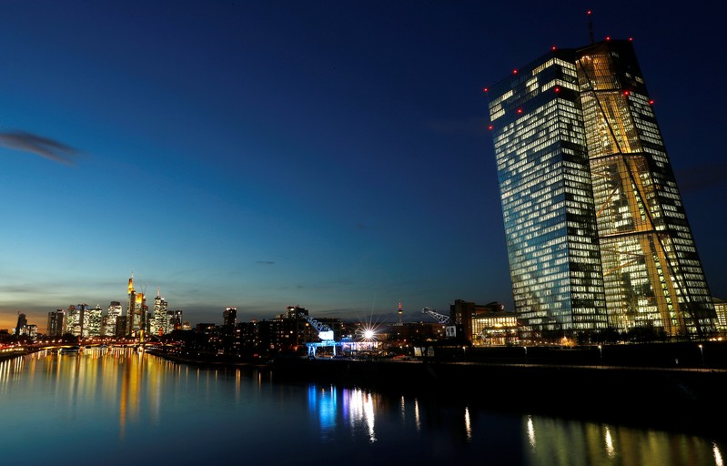 The skyline with its financial district and the headquarters of the European Central Bank (ECB) are photographed in the early evening in Frankfurt