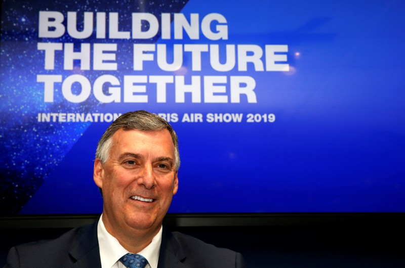 FILE PHOTO: Boeing Commercial Airplanes CEO Kevin McAllister attends the 737 MAX 8 commercial announcement during the 53rd International Paris Air Show at Le Bourget Airport near Paris