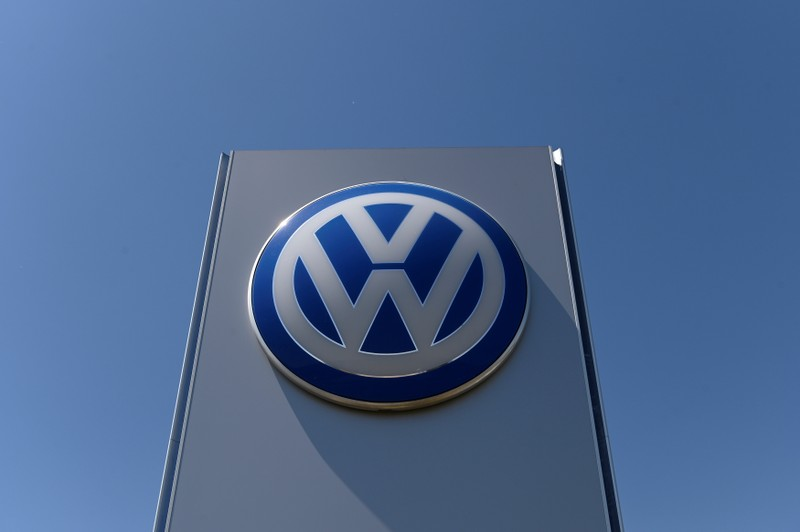 The logo of Volkswagen is seen in front of its construction's plant, in Bratislava