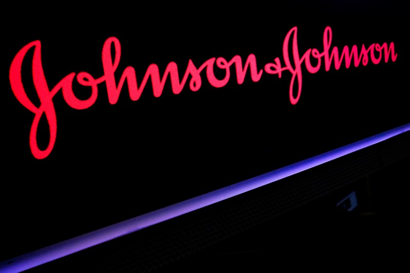 The Johnson & Johnson logo is displayed on a screen on the floor of the NYSE in New York