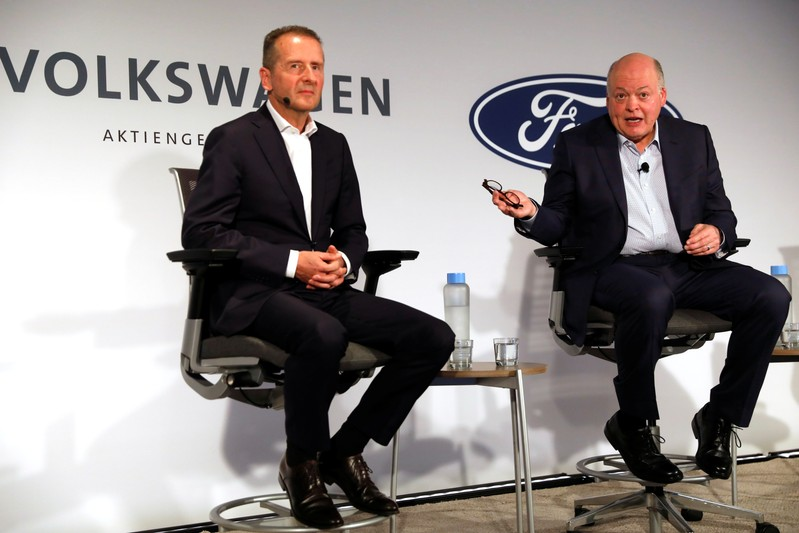 Ford President and CEO Jim Hackett and Volkswagen AG CEO Dr. Herbert Diess attend a news conference in New York
