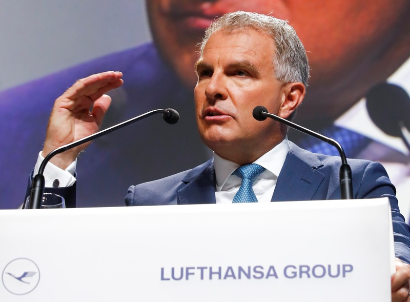 FILE PHOTO: Carsten Spohr, CEO of German airline Lufthansa AG speaks at the company's annual shareholder meeting in Bonn