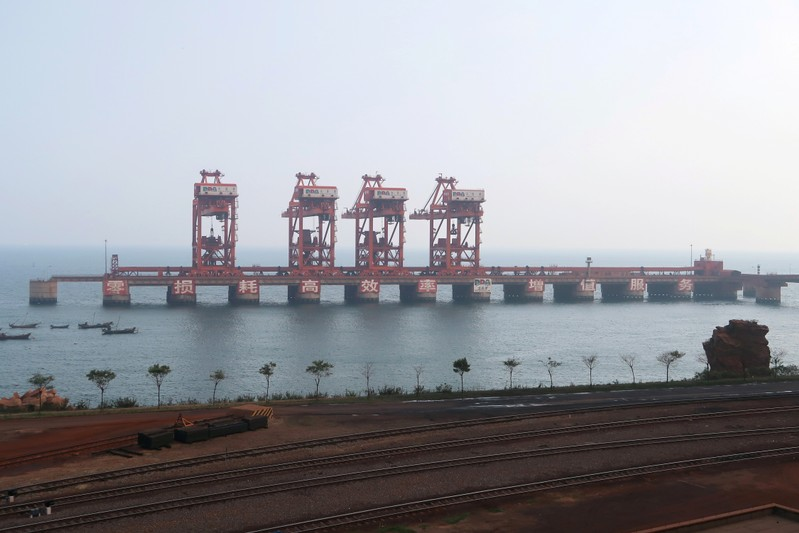 The iron ore terminal is seen at Dalian Port