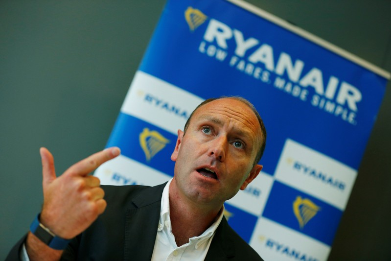 Jacobs, Chief Marketing Officer of Ryanair addresses the media during a news conference in Frankfurt