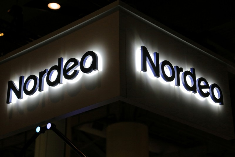 FILE PHOTO: FILE PHOTO: The Nordea Bank AB logo is seen at the SIBOS banking and financial conference in Toronto