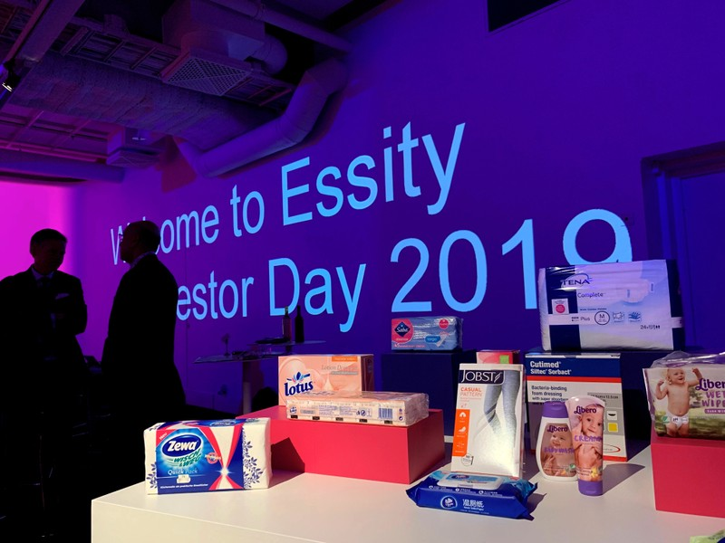 Essity products are seen on display in Stockholm