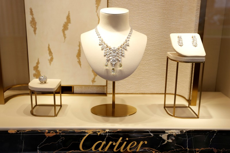 FILE PHOTO: High jewellery are displayed at luxury goods maker Cartier store on Place Vendome in Paris