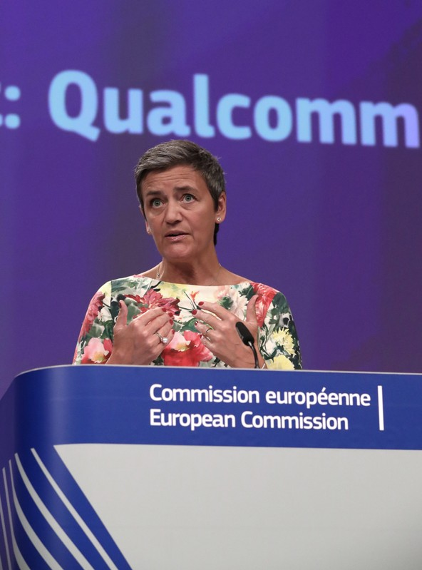 European Competition Commissioner Margrethe Vestager addresses a news conference on an antitrust case in Brussels