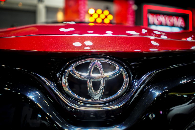 A logo of Toyota is pictured at Bangkok Auto Salon 2019 in Bangkok