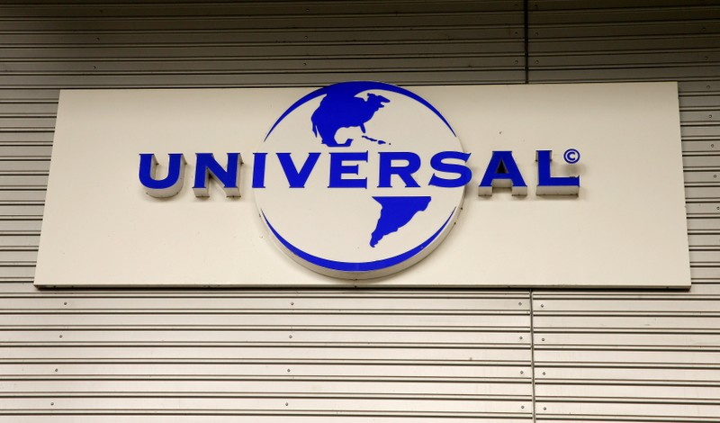 Logo of Universal Music Group is seen at a building in Zurich
