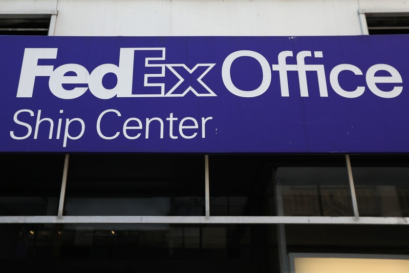 FILE PHOTO: A FedEx Office logo is pictured in Times Square