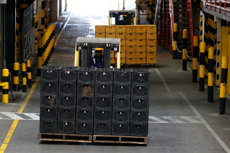 FILE PHOTO: Crates of beer are transported on a folklift from the production line inside the East African Breweries Limited factory in Ruaraka factory in Nairobi
