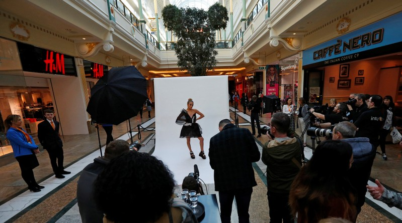 FILE PHOTO: Model Bethan Sowerby wears a dress made using graphene during a media event at the Intu Trafford centre shopping complex in Manchester