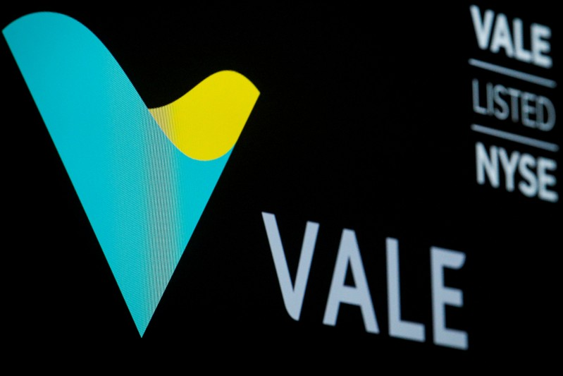 Brazilian mining company Vale S.A. logo and trading symbol are displayed on a screen at the NYSE in New York