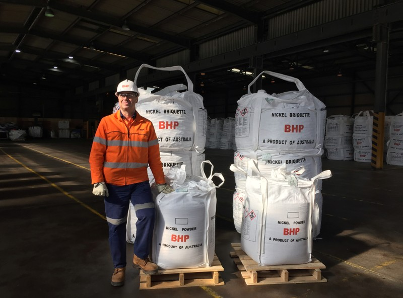 BHP Group Nickel West Asset President Eduard Haegel poses at the Kwinana Nickel Refinery, south of Perth