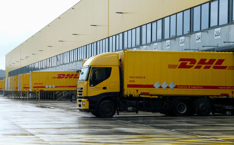 A distribution centre of German postal and logistics group Deutsche Post DHL is pictured in Obertshausen