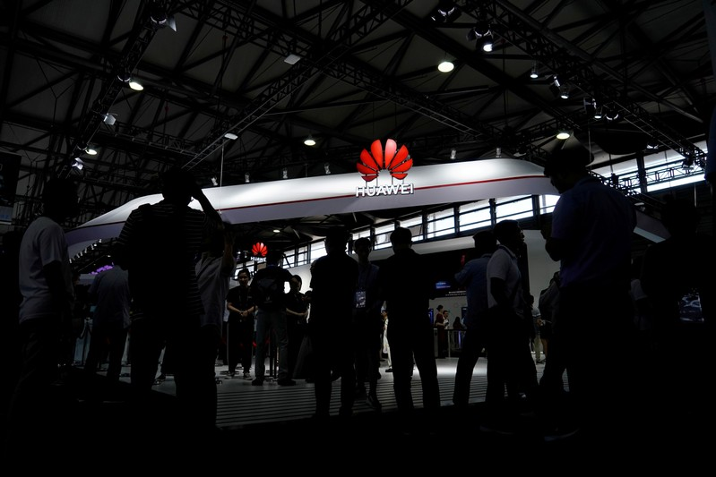 FILE PHOTO: A Huawei logo is pictured at Mobile World Congress (MWC) in Shanghai