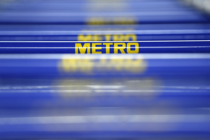 German retailer Metro AG signs on their supermarket trolleys are pictured in Duesseldorf