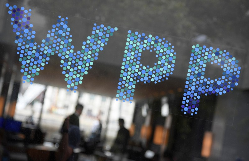 Branding signage is seen for WPP Group, the largest global advertising and public relations agency at their offices in London