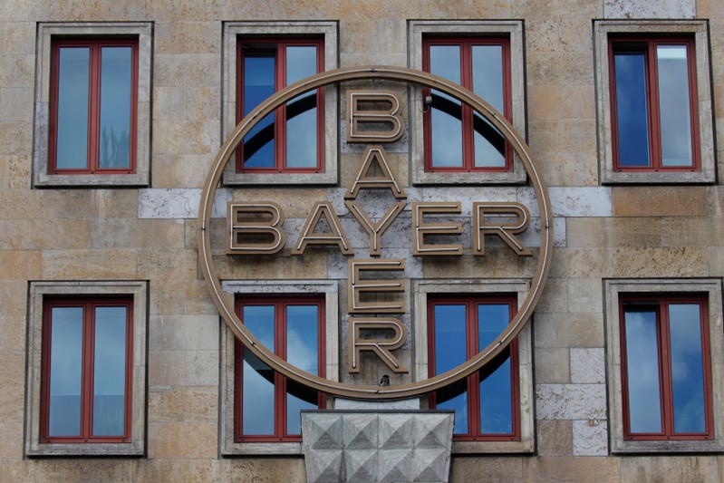 FILE PHOTO: Historic facade of Bayer AG headquarters of German pharmaceutical and chemical maker in Leverkusen