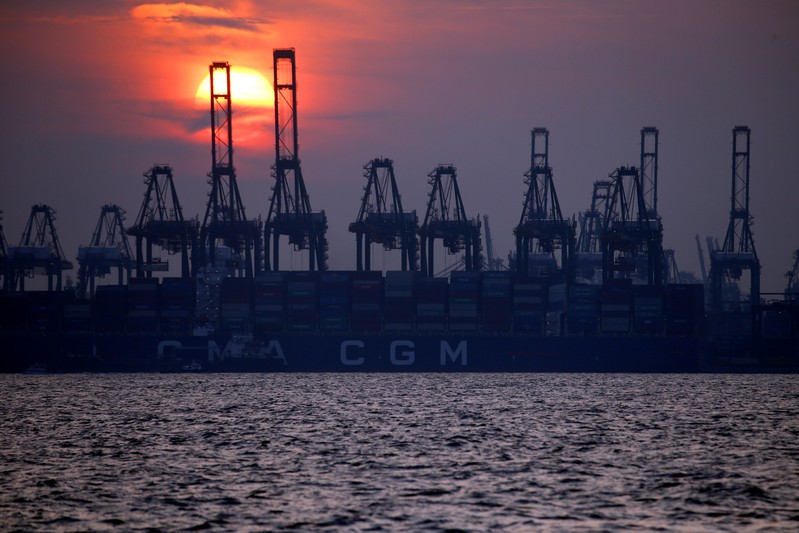 FILE PHOTO: Container cranes are pictured at the port of Singapore
