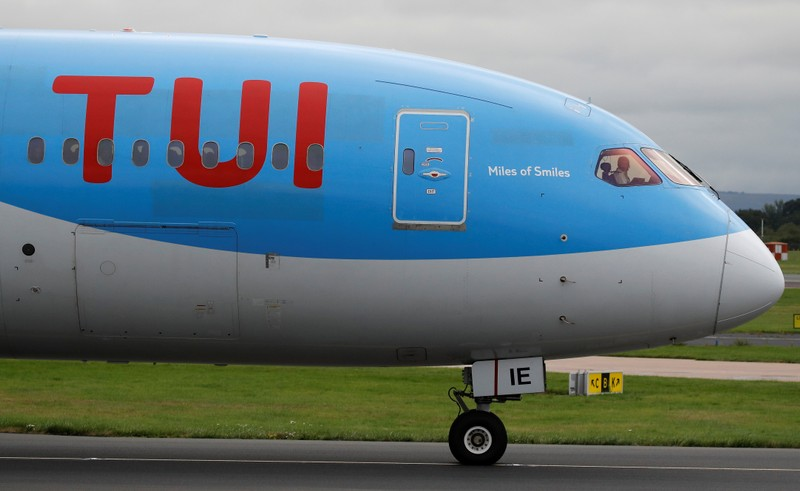 TUI Boeing 787-8 Dreamliner  aircraft prepares to take off from Manchester Airport in Manchester