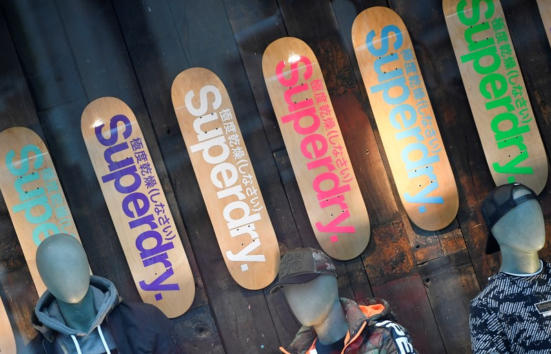A window display is seen at a Superdry store in London
