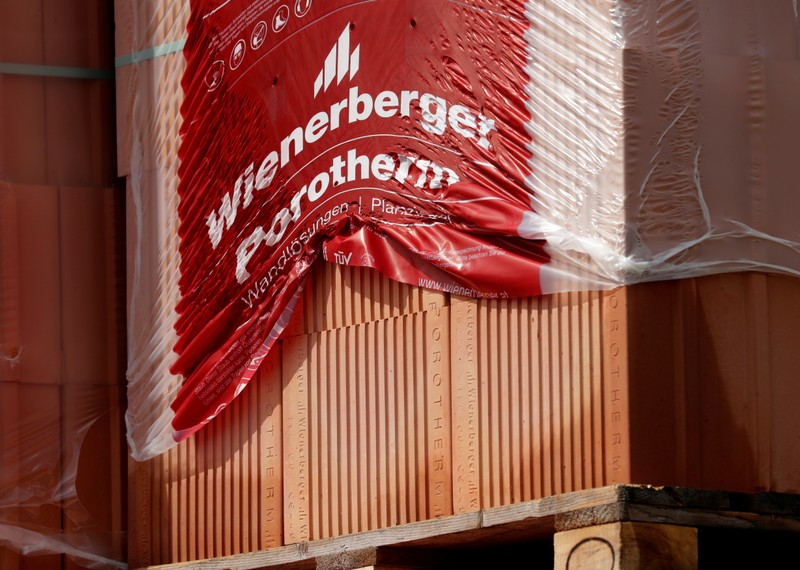 Bricks are stored at the headquarters of Wienerberger, the world's biggest brick maker, in Hennersdorf