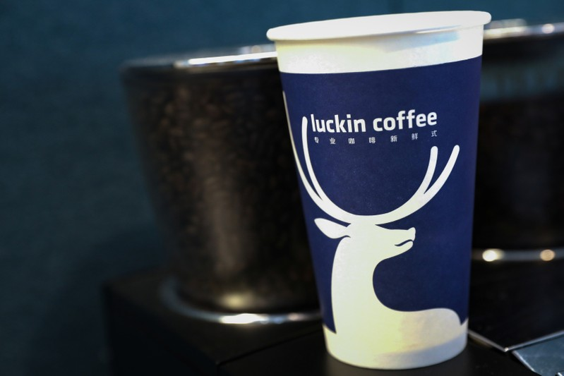 A cup of 'Luckin Coffee,' coffee is displayed during the company's IPO at the Nasdaq Market site in New York
