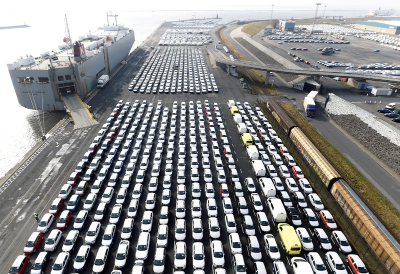 FILE PHOTO: Volkswagen export cars are seen in the port of Emden