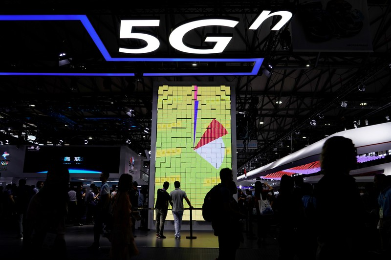 A sign advertising 5G is pictured at Mobile World Congress (MWC) in Shanghai