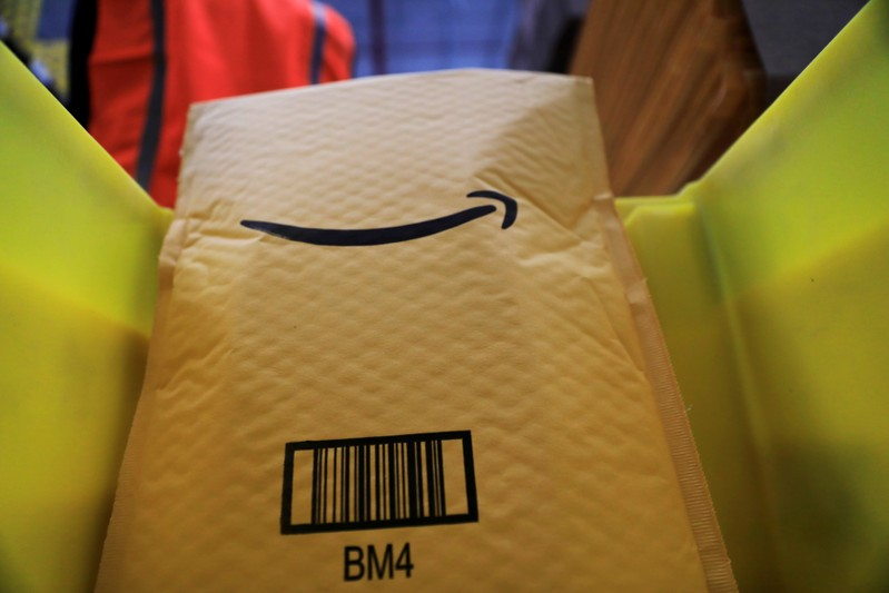 An Amazon envelope is seen at the new Amazon warehouse during its opening announcement on the outskirts of Mexico City