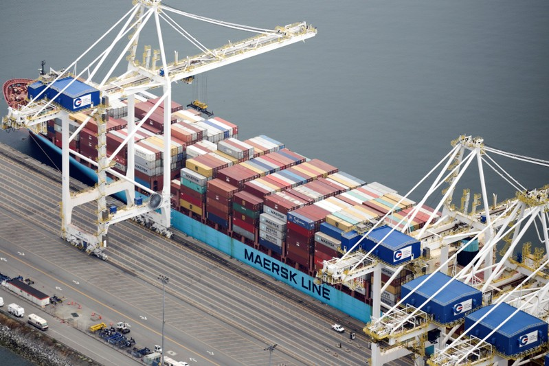 The ship Anna Maersk is docked at Roberts Bank port carrying 69 containers of mostly paper and plastic waste returned by the Philippines