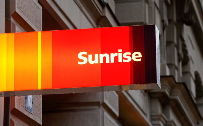 FILE PHOTO: The company's logo is pictured at a shop of Swiss telecoms company Sunrise in Zurich