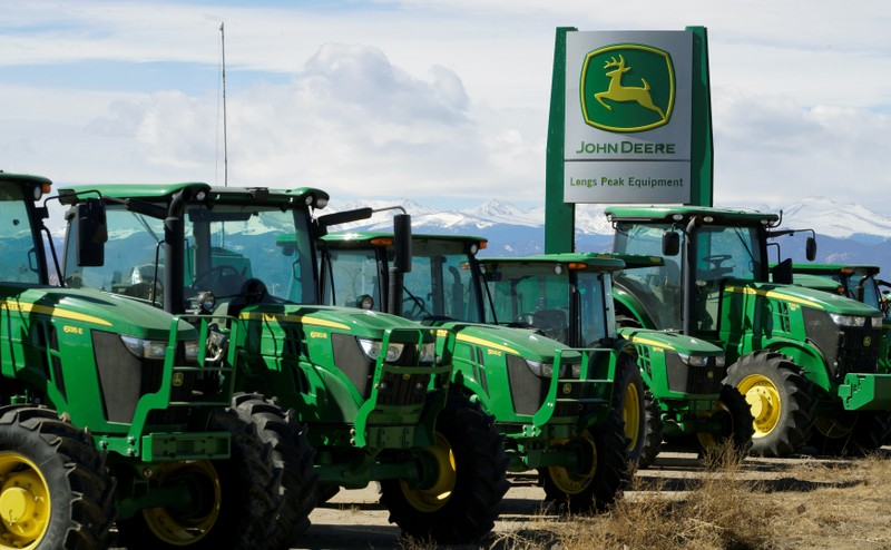John Deere tractors are seen for sale at a dealer in Longmont