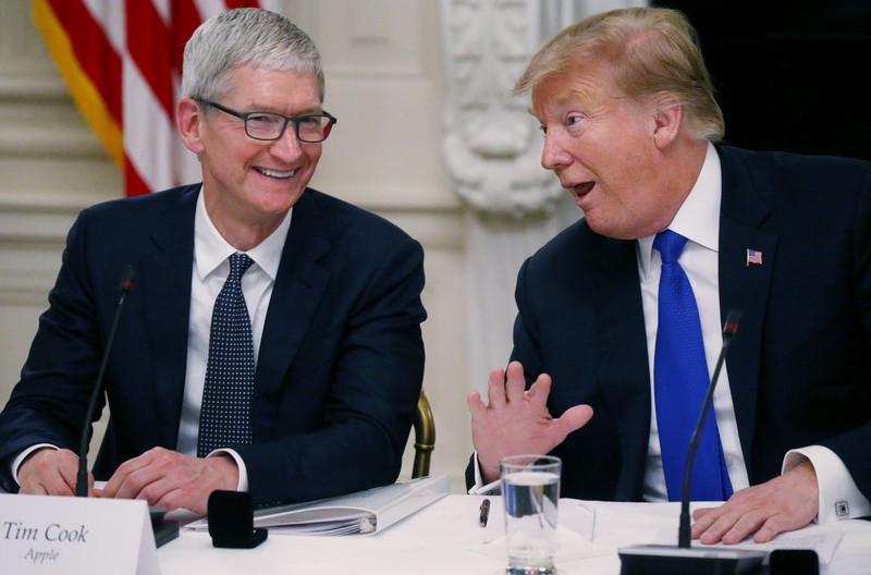 Apple CEO Cook and U.S. President Trump participate in American Workforce Policy Advisory Board meeting at the White House in Washington