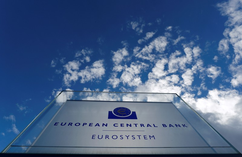 Sign of the European Central Bank (ECB) is seen ahead of a news conference on the outcome of the Governing Council meeting, outside the ECB headquarters in Frankfurt