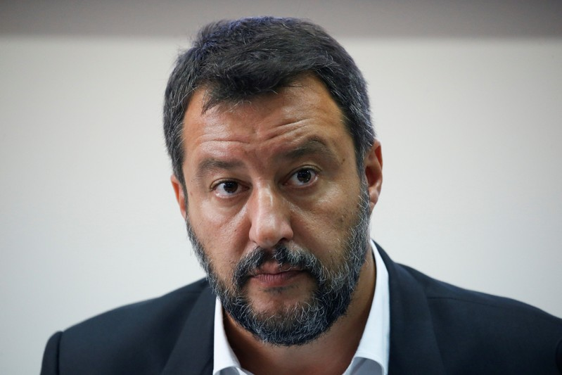 Italian Deputy PM Matteo Salvini holds a news conference in southern Italy on a bank holiday as the government crisis continues, in Castel Volturno
