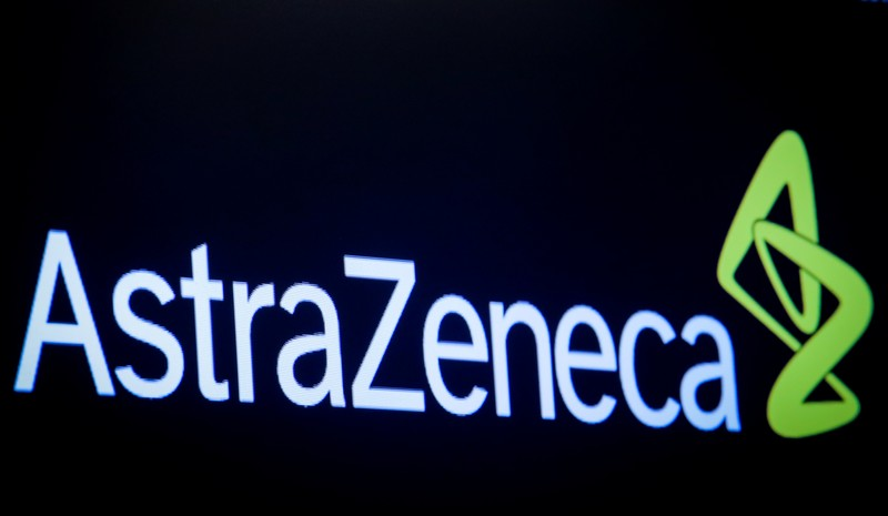 The company logo for pharmaceutical company AstraZeneca is displayed on a screen on the floor at the NYSE in New York
