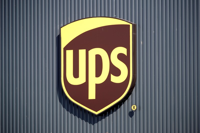 FILE PHOTO: The logo of United Parcel Service is seen at the new package sorting and delivery UPS hub in Corbeil-Essonnes and Evry