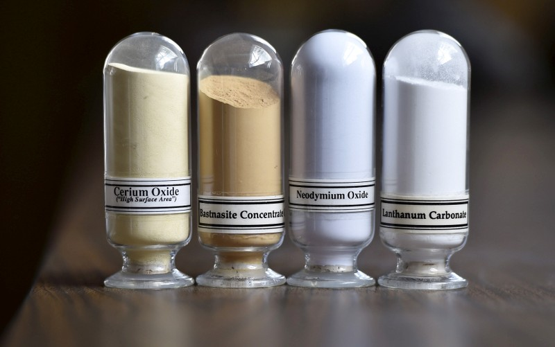 FILE PHOTO: Samples of rare earth minerals Cerium oxide, Bastnaesite, Neodymium oxide and Lanthanum carbonate