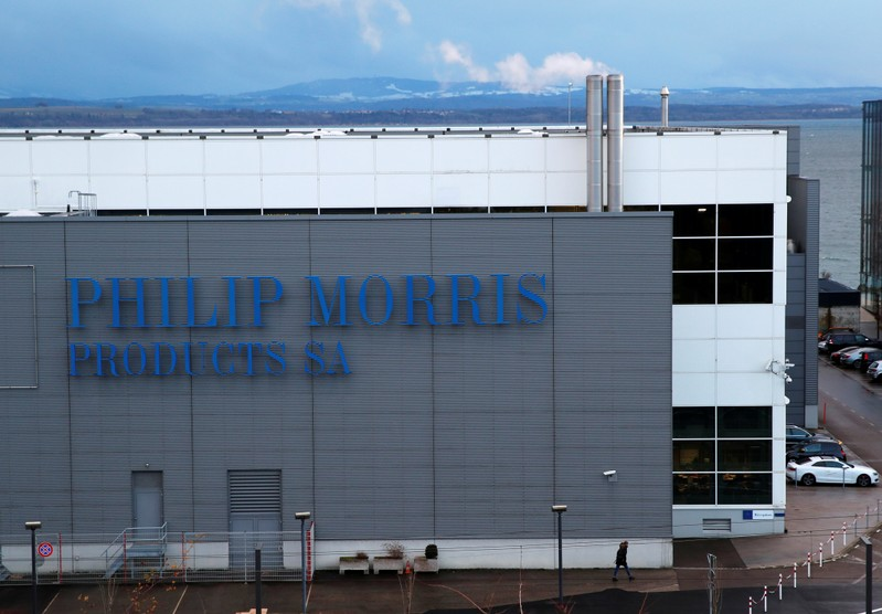 A Philip Morris logo is pictured on a factory in Serrieres