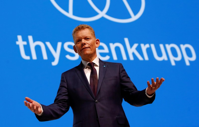 FILE PHOTO: Guido Kerkhoff, CEO of steelmaker Thyssenkrupp AG, gestures during the annual shareholders meeting in Bochum