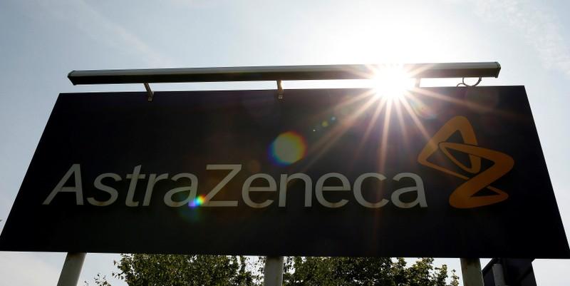 FILE PHOTO: A sign is seen at an AstraZeneca site in Macclesfield, England
