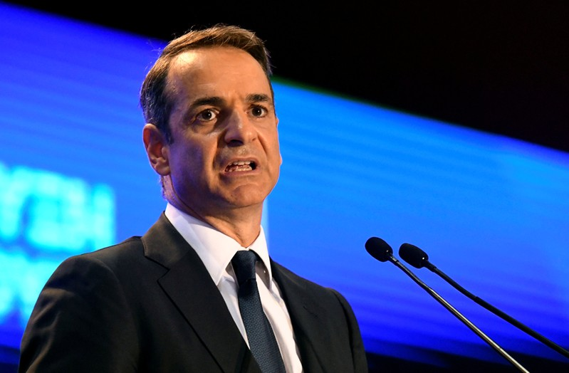 Greek Prime Minister Kyriakos Mitsotakis speaks during the opening of the annual International Trade Fair of Thessaloniki